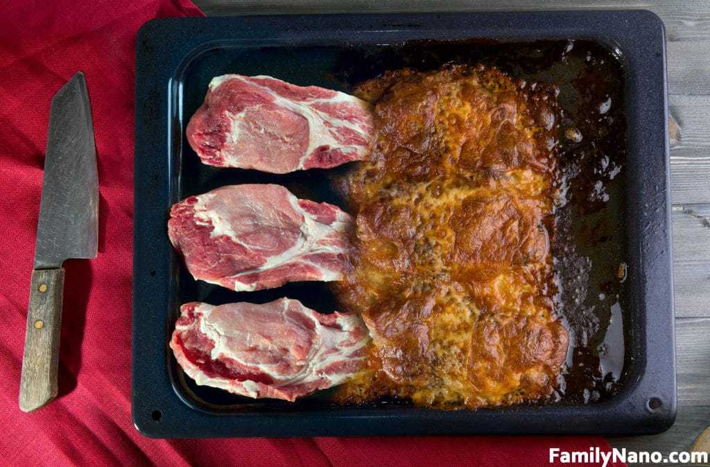 Pork Raw Meat And Baked With Cheese - A Collage