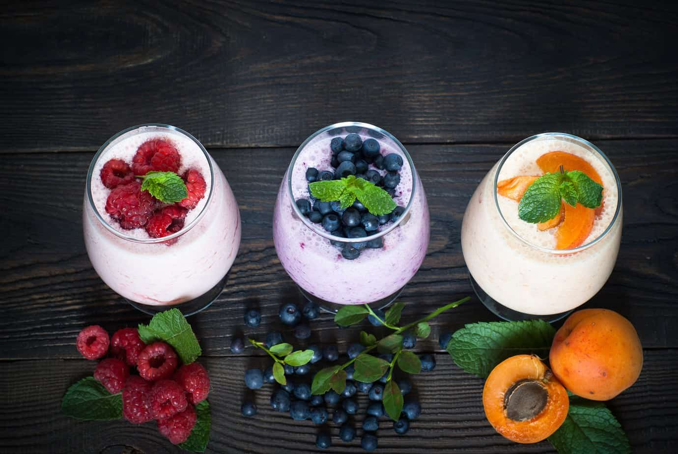 milkshake with fresh fruits and berries