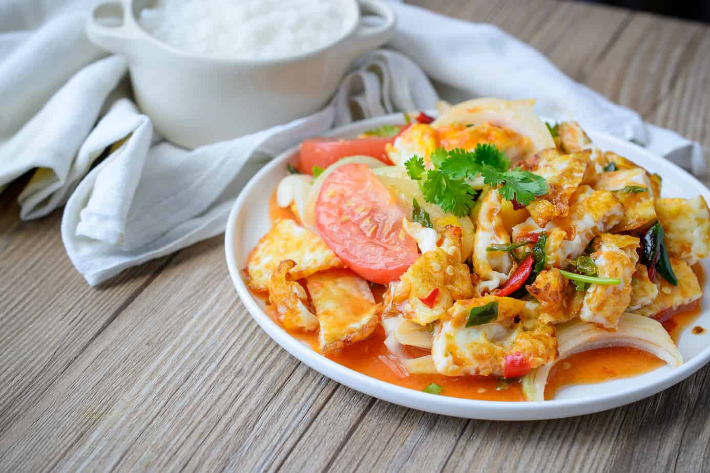 Spicy salad with fried eggs Thai Spicy Food