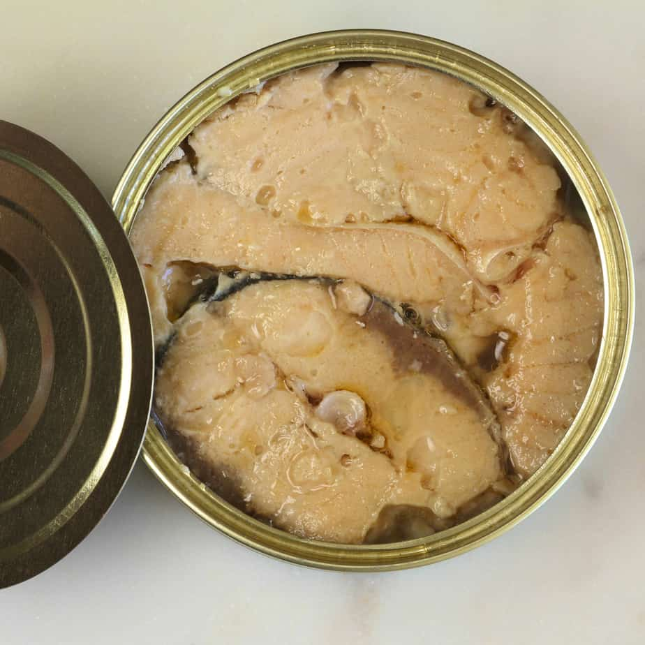 Canadian pink salmon in a tin of brine