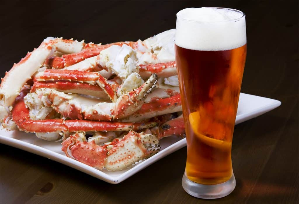 Plate with a pile of crab legs