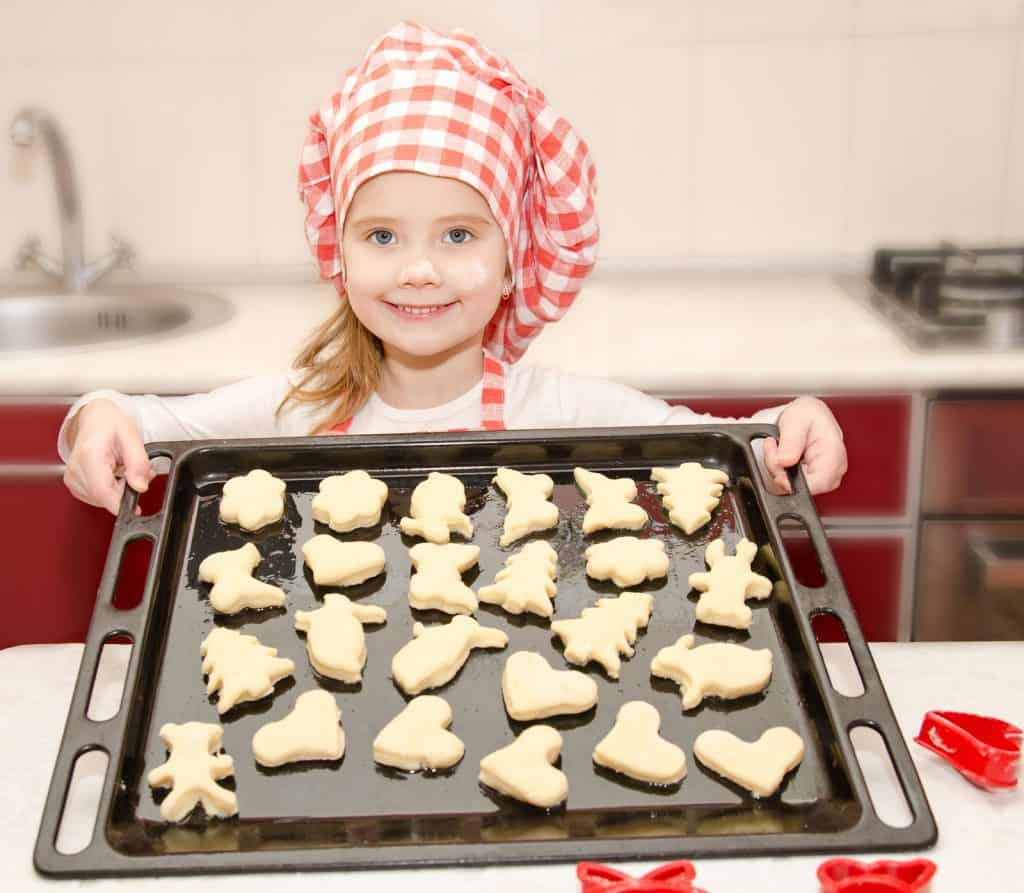 baking sheet of cookies in the kitchen