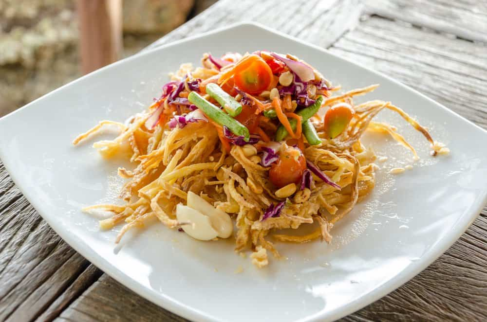 Deep fried papaya salad