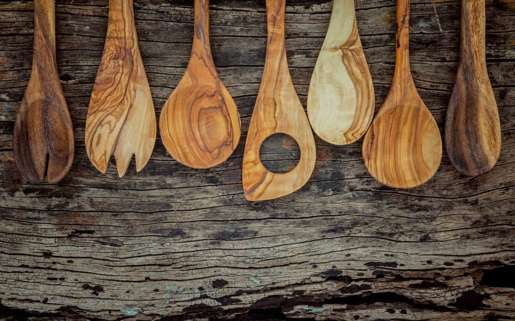 Various Wooden Cooking Utensils Border. Wooden Spoons And Wooden