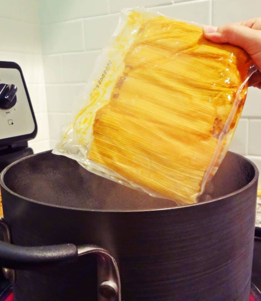 Boiling tamales